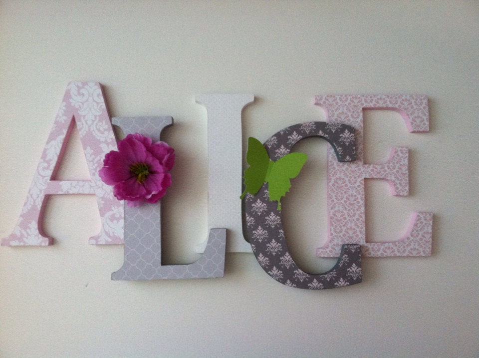 Nursery Wooden Wall Letters In Soft Lilac Pink And Gray