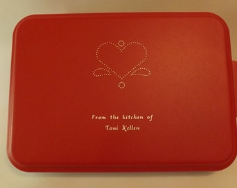 Personalized, Aluminum Cake Pan with colored lid and engraved design.
