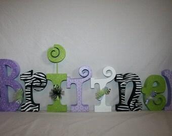 Nursery letters, Wooden letters for nursery, 15.00 per letter, Wood letters, Nursery wall letters, Baby name letters, Name letters, Zebra