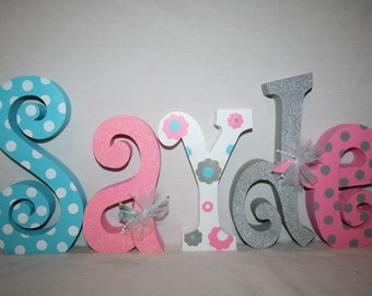 Baby name letters, Nursery decor, Nursery letters, 5 letter set, Pink and gray, Pink and turquoise, Wooden letters, Flower nursery decor