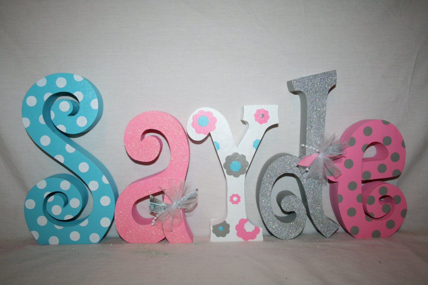 Baby name letters nursery decor nursery letters 5 letter for Baby room decoration letters