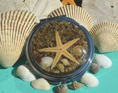 Beach Lovers  Metal Round Compact Mirror - Real Starfish and Tiny Sea shells