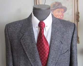 Vintage Mens Tweed Savile Row Blazer, Savile Row Tweed Jacket, Vintage Tweed Sportcoat Savile Row Measures Size 44 Tall