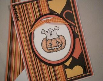Halloween Card, Handmade Halloween Card, Pumpkin Card, Ghost Card, Hearts Card, Stamped Halloween Card