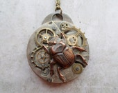 Steampunk Neo Victorian Japanese Beetle Bug Key Necklace
