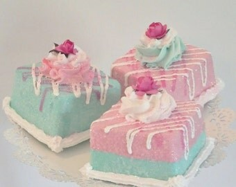 Fake Petit Fours Mini Cakes Photo Props, Eat More Cake, Marie Antoinette theme Tea Cakes for Party Decorations, Home Accents