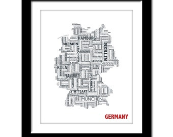 Germany Typography Map 8x10 Print