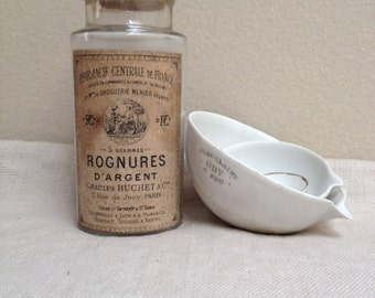 Vintage French pharmaceutical jar with silver trimmings