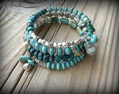 Sky Blues - Turquoise, Aquamarine, Chrysoprase and Sterling Silver Wrap Bracelet