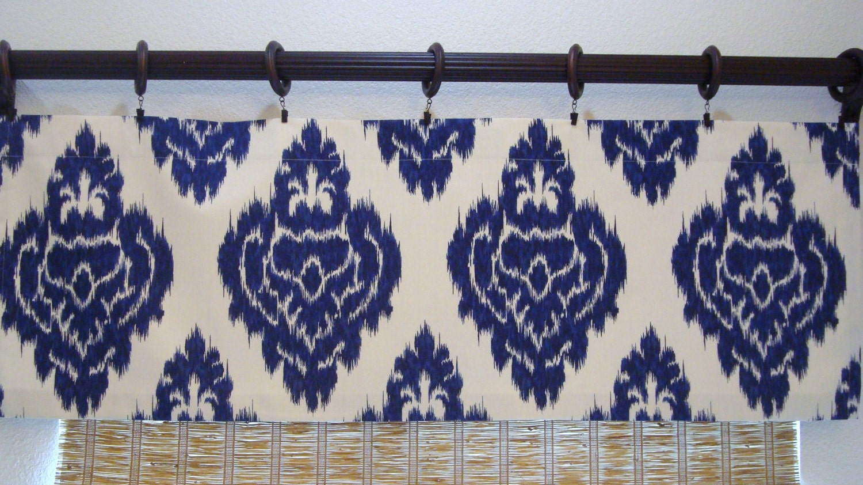 Duralee Kalah Ikat Indigo Blue Valance Kitchen Curtain Kitchen