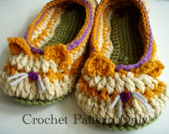 Kitty Cat Slippers Crochet Pattern #208 PDF Instant Download Little Girl sizes 10-3