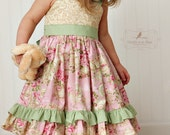 Boutique Quality Double Ruffle Herringbone Pants Made to match the Vintage Rose dress -- size 12mos 6