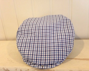 Blue and White Plaid Scally Cap