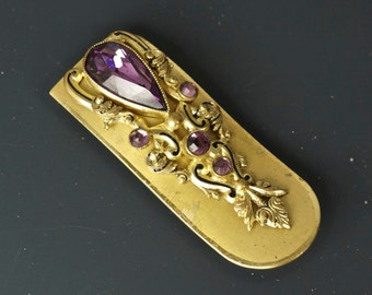 ANTIQUE DRESS clip. amethyst brooch - amethyst dress clip - gold victorian pin -france  jewelry. 1800s No.001738