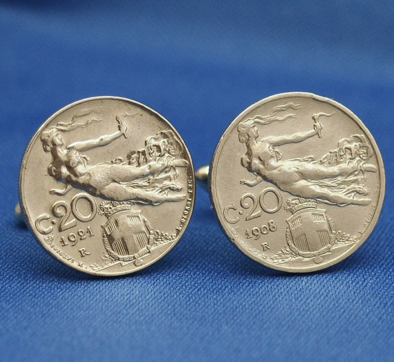 Italy Victory Woman in Flight c20 Coin Cufflinks