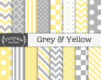 Yellow and Grey Digital Paper, Chevrons, Polka Dots, Stripes, Instant Download, Commercial Use, Scrapbooking Paper Pack, Card Making Paper