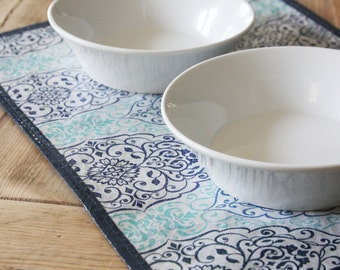 Repurposed Pet Placemat from a Shopping Bag - Small Size - Blue Filigree