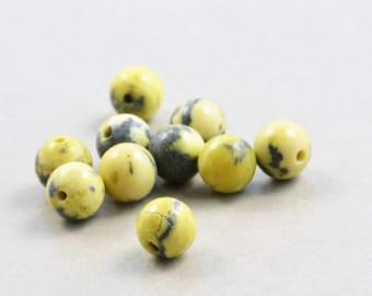 Peridot Jasper, 6mm Round Beads, Pea Green, Ten