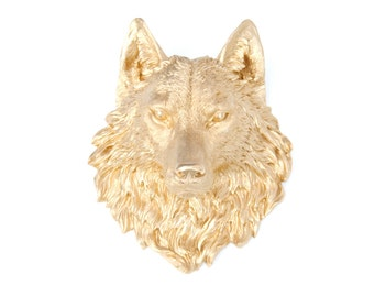 FAUX TAXIDERMY - Gold Resin Wolf Head Wall Mount - Faux Taxidermy W08
