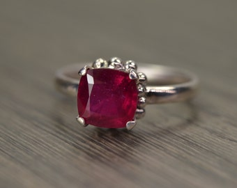 Ruby Ring, 2.5ct cushion silver solitaire, solid 14k 18k gold, July Birthday - Darcy Ring
