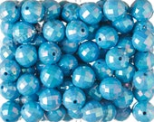 20mm - 10 PACK of Blue AB Faceted 20mm Gumball Beads, Chunky Acrylic Beads, 20mm Beads, Disco Ball Beads, 2mm Hole (R7-140)