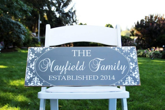CUSTOM wood FAMILY SIGN personalized with family name, established year and damask border