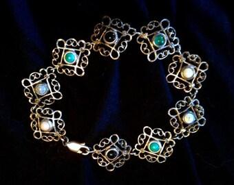 Gorgeous Unique Antique Open Work Sterling Silver Filigree Multi Gemstone Arts & Crafts Bracelet