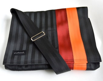 Crossbody Bag - Laptop Case - Seat Belt Messenger Bag - Red and Orange Seatbelt Bag (M-7)