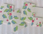 6 teeny tiny envelope note card sets handmade miniature square holly holiday Christmas gift tag stationery party favors money