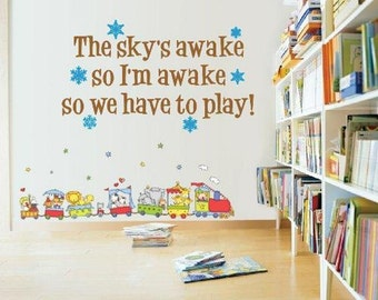 Wall Decal Frozen Quote The Sky's Awake So Lets Play Vinyl Decal Childrens Room Wall Art