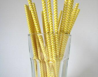 Yellow Chevron Striped Paper Straws with DIY Paper flags, wedding straws, birthday straws,paper straws