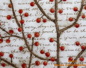 Winter Birds Berry Vine Words - LEGACY STUDIO - Cotton Fabric - S2F1 - 1 Yard
