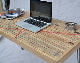 Desk - Reclaimed Maple Boxcar - Red Resin Inlay