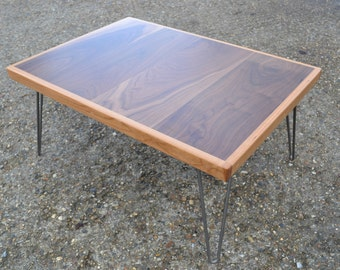 Coffee Table - Solid Walnut With Oak Surround - Hairpin Legs