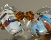 Hadmade Lampwork Glass Earring Pair Bead Set Silver Glass discs SRA CPteam GBUK