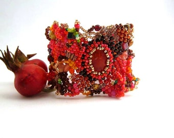 Autumn bracelet, Boho bracelet cuff, Freeform peyote bracelet Red and brown bracelet, seed bead jewelry