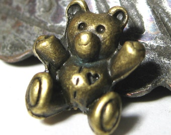 Teddy Bear Beads Antique Bronze Alloy 14mm Cute Beads 8 pieces