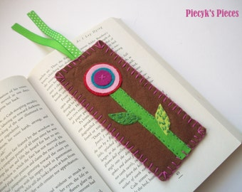 Flowery Felt Bookmark - Brown Green Pink Purple Turquoise Red Felt Bookmark OOAK Eco-friendly