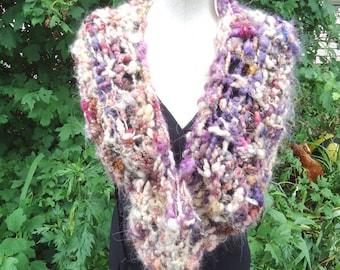 Neauveau Cowl, OOAK hand spun / hand knit, mixed fibers