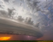 Fine Art Print of an amazing supercell thunderstorm with lightning in Nebraska