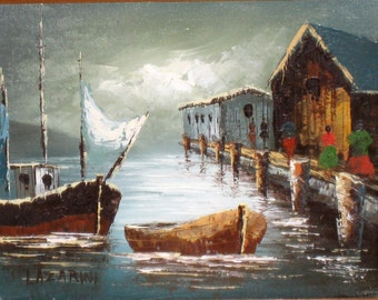 P Wong Chinese Junk Boats Painting 12 X 16 Unframed Free Us