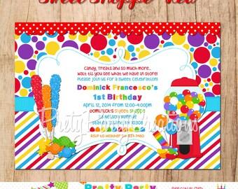 SWEET SHOPPE RED birthday invitation - you print