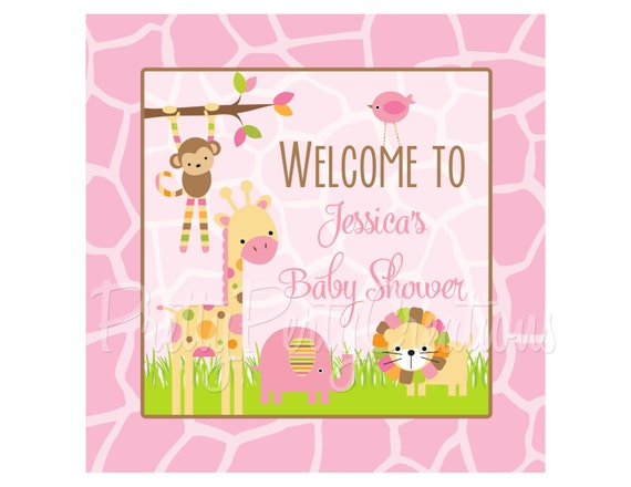 mod jungle pink welcome sign you print by pretty party creations catch my party. Black Bedroom Furniture Sets. Home Design Ideas