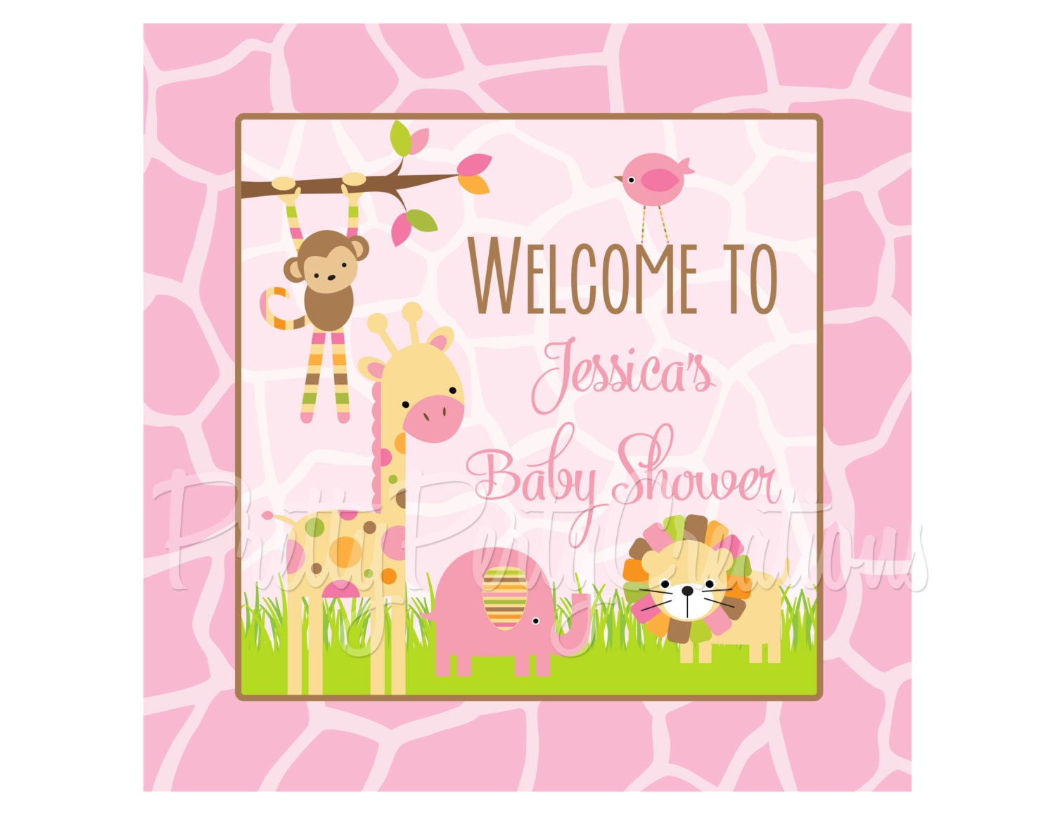 mod jungle pink welcome sign you print. Black Bedroom Furniture Sets. Home Design Ideas