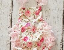 Baby Romper - Shabby Flower Romper - Girls Sunsuit - Baby Bubble Romper - Ruffle Romper