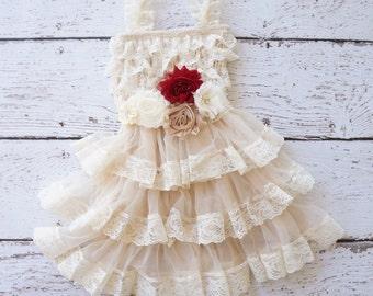 Rustic flower girls dress, flower Girl Dress, lace Flower girl dress, Rustic wedding dress, baby dress, baby flower girl dress, kids