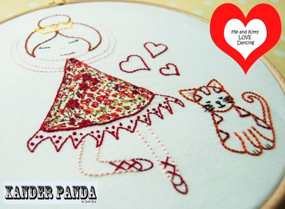 Hand Embroidery PDF Pattern Me and Kitty Love Dancing