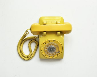Vintage Bell Systems Rotary Telephone - Mustard Yellow