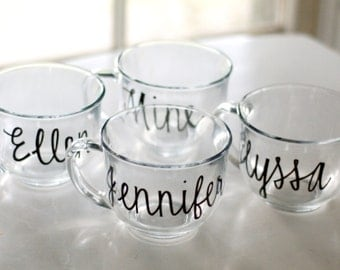 custom name glass mugs - one (1) - bridesmaids gifts wedding favors - black calligraphy handwritten lettering - coffee tea cups