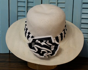 Beautiful stripe rattan hat in navy and white